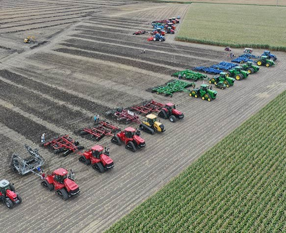 Farm Progress Show photo of tractors from a drone